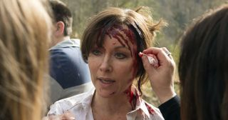 Filming Casualty 30 was bloody hard work for Amanda Mealing!