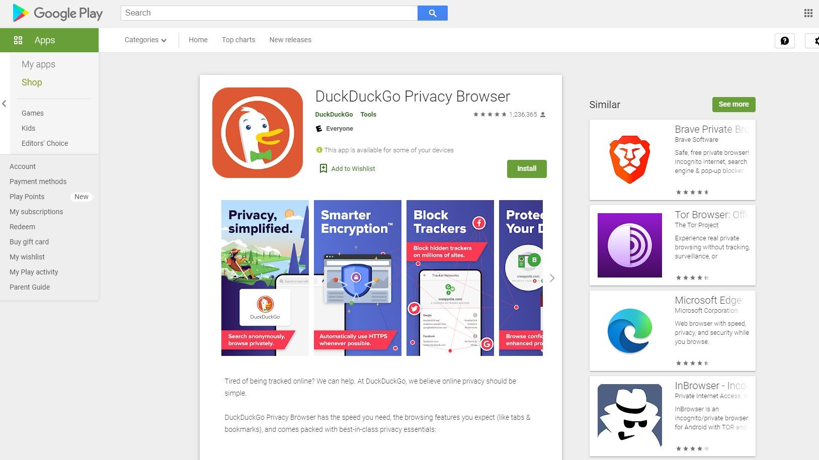 DuckDuckGo Play Store