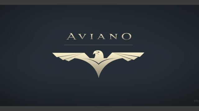 Aviano serif font sample in gold