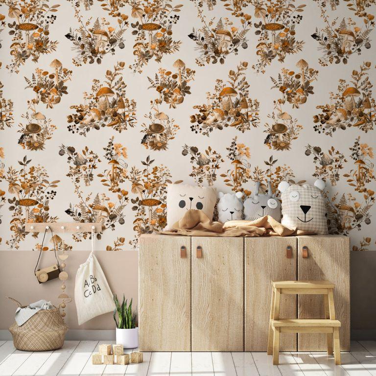 mushroom motif wallpaper from etsy