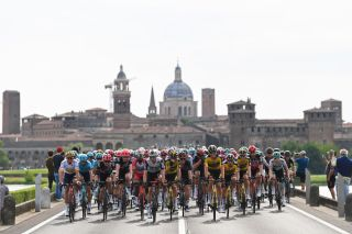 VERONA ITALY MAY 21 Luis Leon Sanchez Gil of Spain Aleksander Vlasov of Russia and Team Astana Premier Tech White Best Young Rider Jersey Tejay Van Garderen of United States and Team EF Education Nippo Egan Arley Bernal Gomez of Colombia and Team INEOS Grenadiers Pink Leader Jersey Max Walscheid of Germany and Team Qhubeka Assos Edoardo Affini of Italy and Team Jumbo Visma The Peloton passing through Mantova City during the 104th Giro dItalia 2021 Stage 13 a 198km stage from Ravenna to Verona Landscape Castle Church girodiitalia Giro UCIworldtour on May 21 2021 in Verona Italy Photo by Tim de WaeleGetty Images