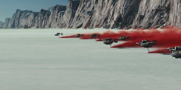 Speeders kicking up red ash on Crait