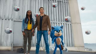 the Sonic the hedgehog movie stars Ben Schwartz (voicing Sonic), James Marsden, and Tika Sumpter