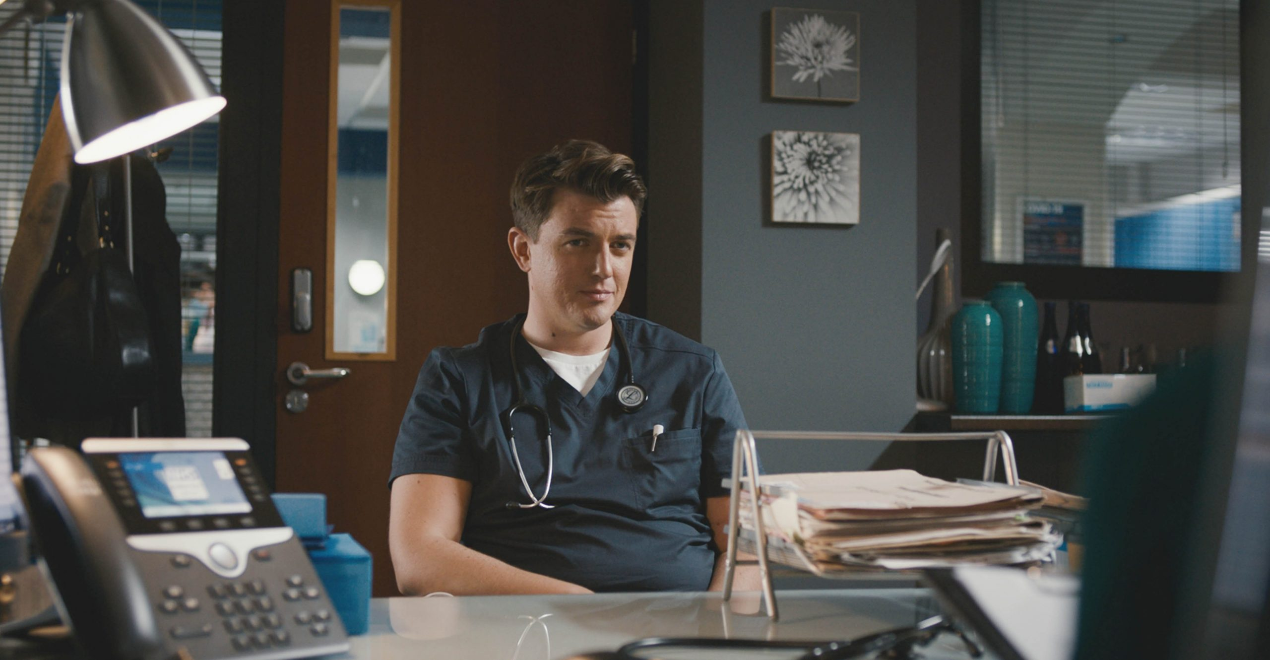 Will Noble squares up to Connie on his last day in Casualty