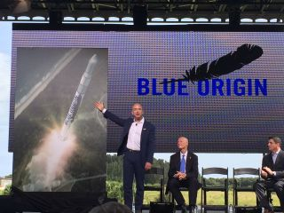 Billionaire Jeff Bezos, founder of Blue Origin, announces his company's plans to launch spaceships and rockets from Florida's Cape Canaveral Air Force Station at Launch Complex 36 on Sept. 15, 2015.