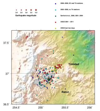 Earthquakes in New Mexico and Colorado from 2001 to 2011.