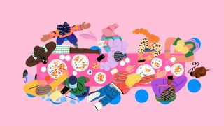 Illustration of colourful characters enjoying dinner