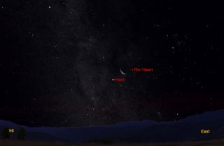 Moon and Mars visible on July 27, 2011 before dawn.