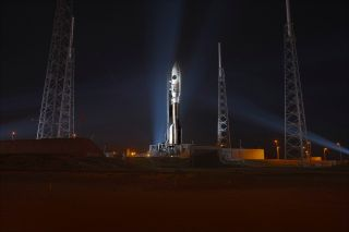 Atlas 5 Launch Vehicle on Pad at Night