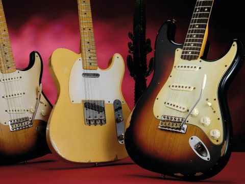 The '60s Strat (right) alongside its '50s Strat and Tele siblings