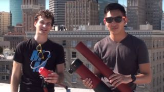 This duo constructed their own pneumatic cannon to shoot a GoPro into the sky
