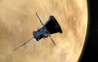 An artist's depiction of NASA's Parker Solar Probe flying past Venus.
