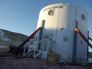 The Mars Society's Mars Desert Research Station near Hanksville, Utah, photographed in January 2014.