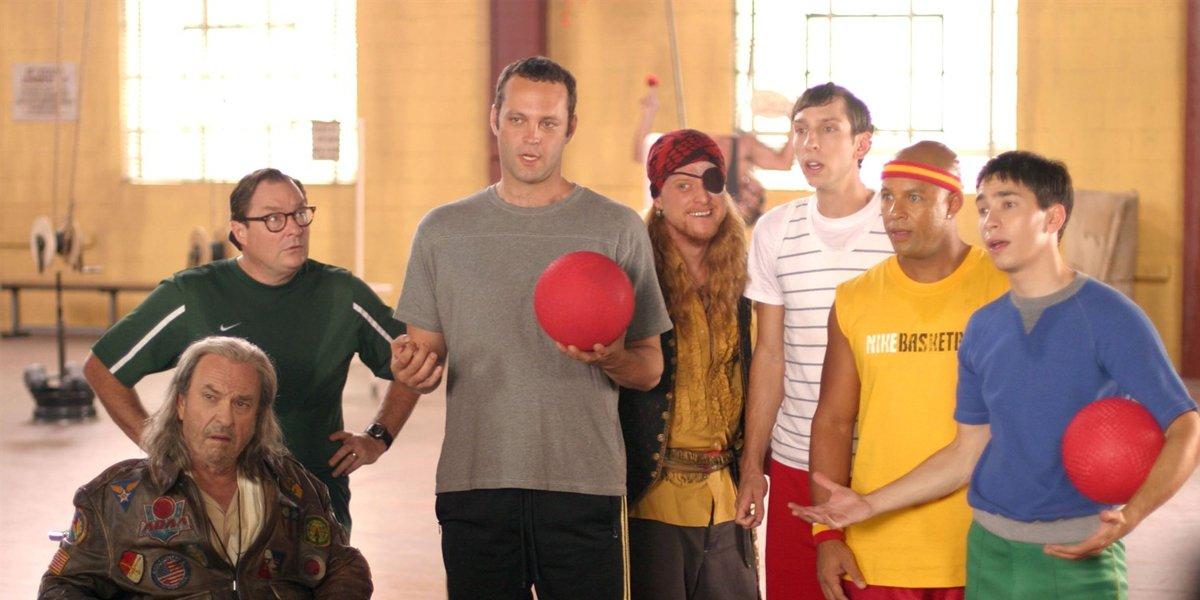 Dodgeball cast Rip Torn Stephen Root Vince Vaughn Alan Tudyk Joel Moore Chris Williams Justin Long