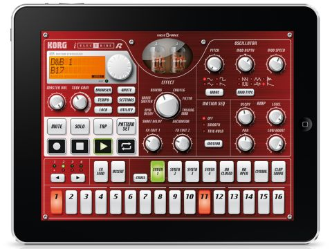 iElectribe lets you construct patterns using synth and drum parts.