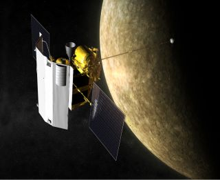 Artist's impression of NASA's Messenger spacecraft in orbit at Mercury. Messenger arrived at the solar system's innermost planet in March 2011.