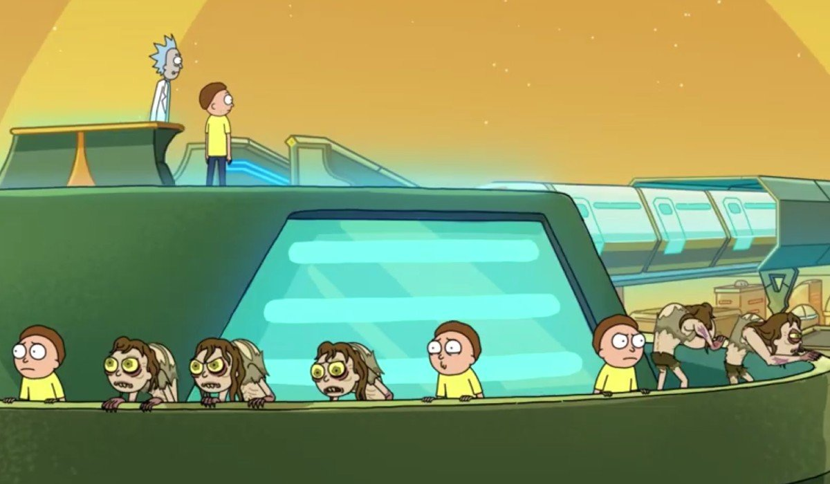 Rick and Morty escaping the Citadel with other Mortys Adult Swim