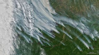 NASA's Earth observation satellite Aqua captured this image of wildfires in the Republic of Sakha, in the Russian northeast, on August 8, 2021.