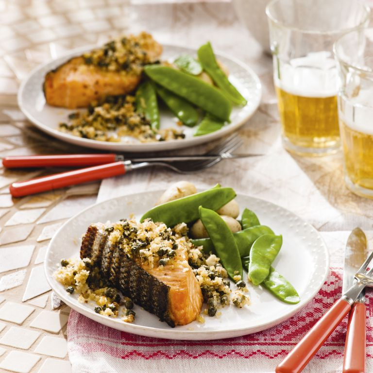 Salmon with capers and parmesan - salmon recipes - summer recipes - easy - woman&home July 2013