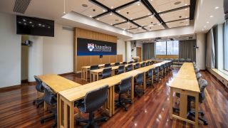 The University of Pennsylvania's Annenberg School for Communication recently replaced its aging legacy Christie rear-projection wall and Spyder X20 with the Christie Spyder X80 and a Christie Velvet Apex Series video wall in Room 500—the school's primary presentation center for speakers and guests.