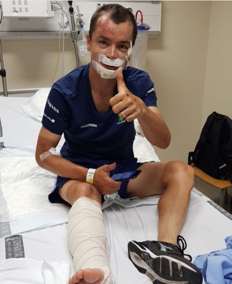 Thumbs up from Carlos Betancur from hospital