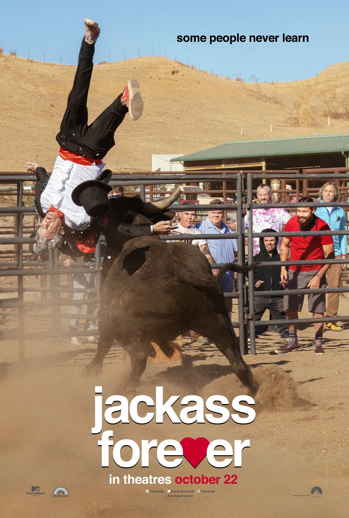 Johnny Knoxville knocked for a loop by a bull in Jackass Forever.