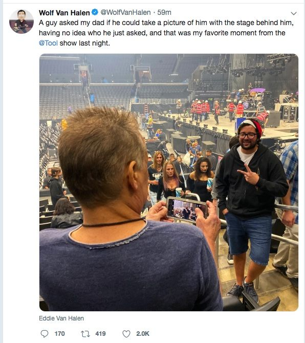 Tool Fan Asks Man To Take His Pic At Gig Doesn T Realise It S Eddie Van Halen Musicradar