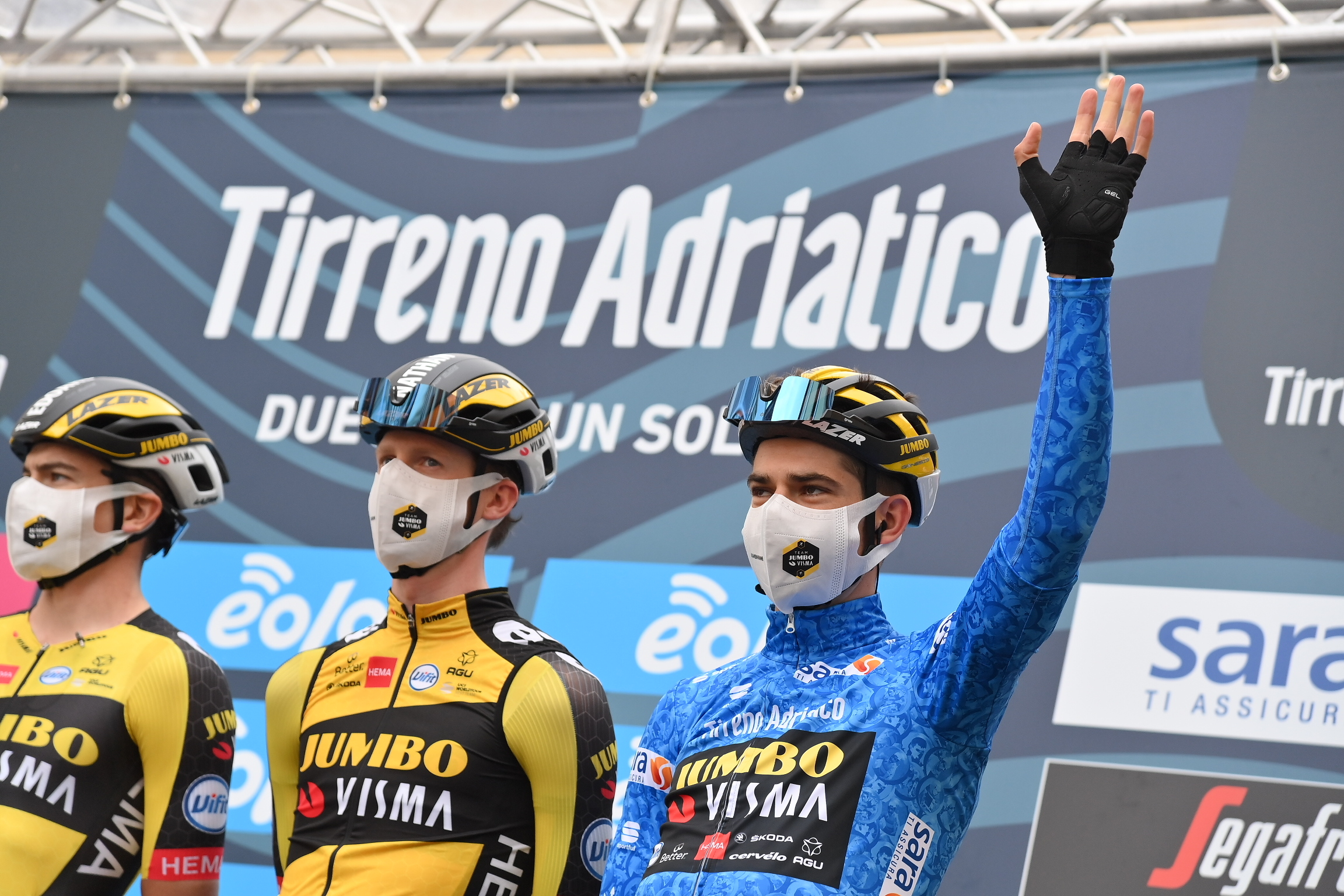 Wout Van Aert in the blue Tirreno-Adriatico leader's jersey