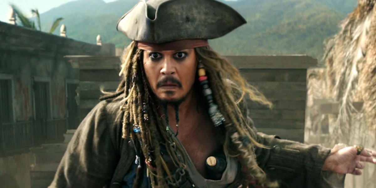 Johnny Depp sticking his arms out as Captain Jack Sparrow