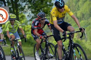 Chris Froome, Richie Porte and Alberto Contador in action during Stage 6 of the 2016 Dauphine Libere
