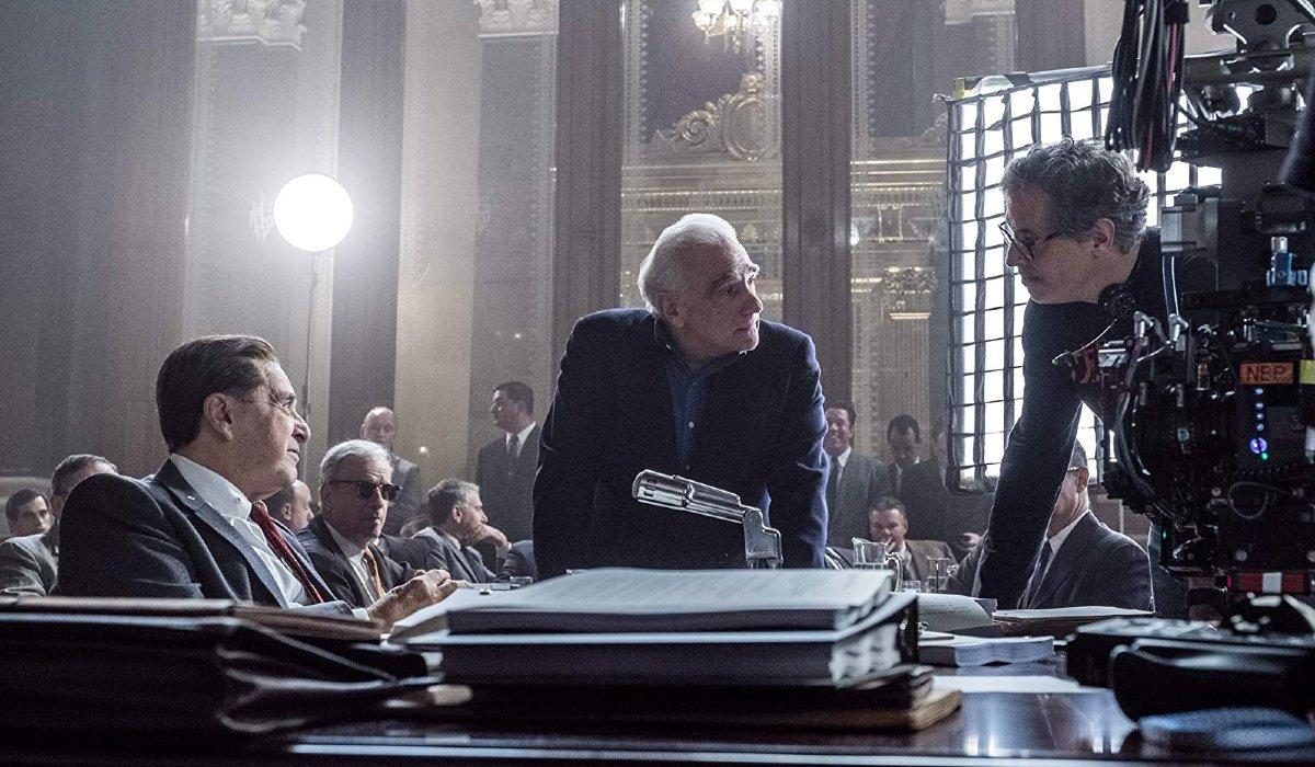 The Irishman Martin Scorsese directing on set with Al Pacino