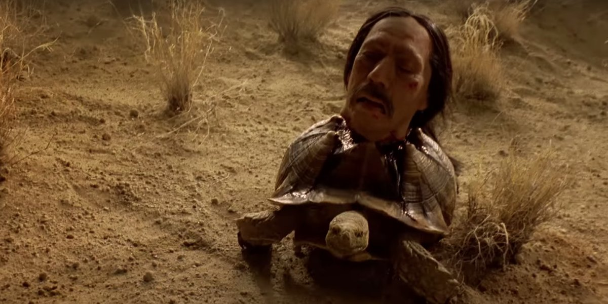 Danny Trejo as Tortuga, whose head rests atop a tortoise, on Breaking Bad