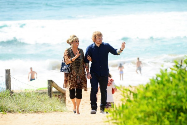 Emily Simons and Ed Sheeran filming in Summer Bay