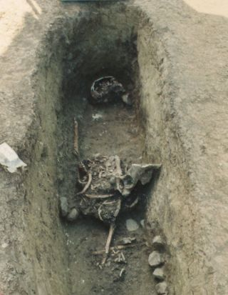 Disturbed medieval grave. An archeologist thinks people who re-opened medieval graves weren't necessarily grave robbers.