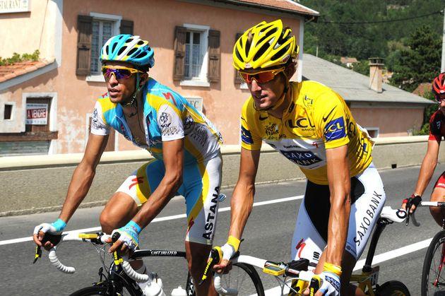 Alberto Contador and Andy Schleck, Tour de France 2010, stage 11
