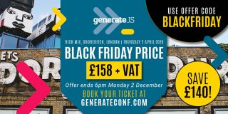 An image promoting GenerateJS's Black Friday sale, offering tickets for £158 + VAT when you order by 6PM on Monday 2 December