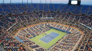 Overhead photo of US Open tennis court at Arthur Ashe Stadium