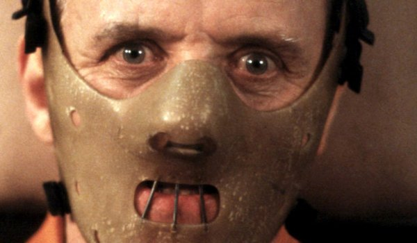 Anthony Hopkins as Hannibal Lecter wearing a mask in the silence of the lambs