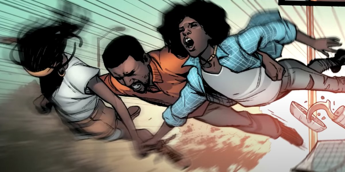 Natalie Washington, Gary, and Riri Williams try to outrun a drive-by shooting