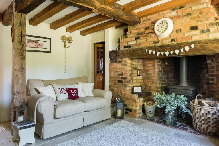 beamed living room in a 17th century listed cottage