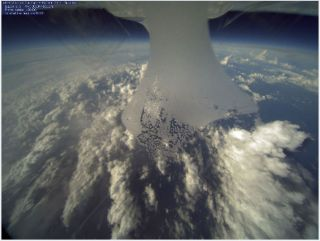 Drone image of clouds and Tropical Storm Nadine.