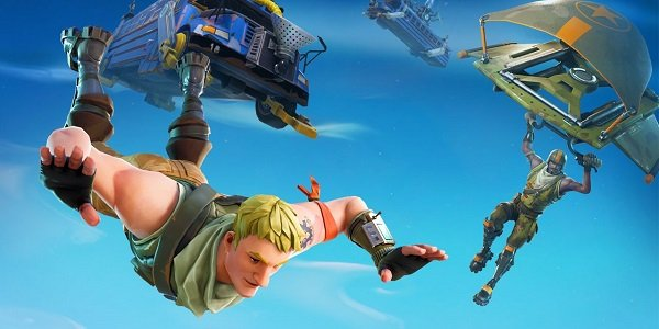Characters dive onto the battlefield in Fortnite.