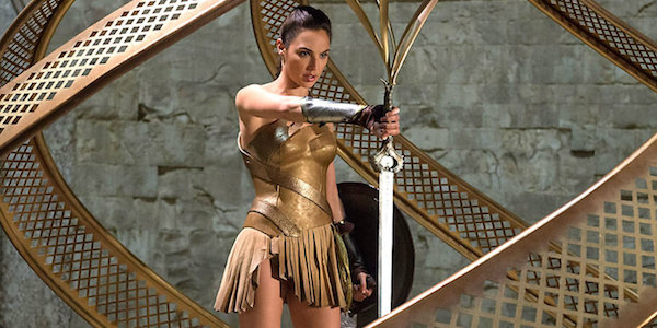 Gal Gadot's Diana on Themyscira holding her sword