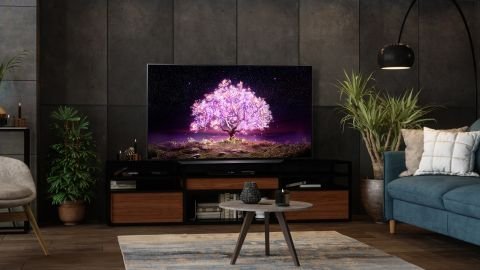 LG C1 OLED TV review: image shows LG C1 OLED TV in living room