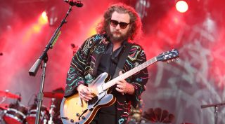 Jim James performs with My Morning Jacket at the End of the Road Festival at Larmer Tree Gardens on September 5, 2015