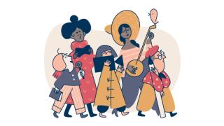 A cartoon band of creators