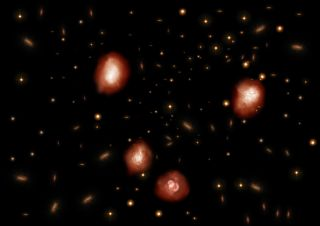 An artist's depiction of some of the newly discovered galaxies.