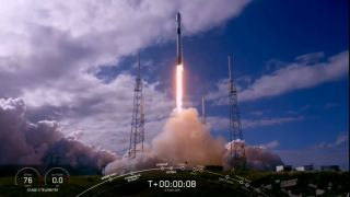 A SpaceX Falcon 9 rocket making its fourth trip to space launches 60 new Starlink internet satellites into orbit from Cape Canaveral Air Force Station in Florida on Nov. 11, 2019.