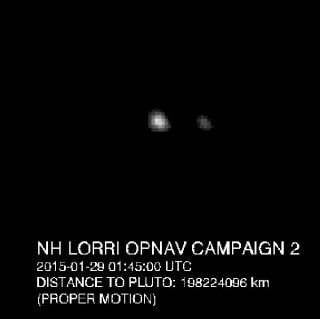 This image of Pluto (center) and its largest moon, Charon, was taken by NASA's New Horizons spacecraft on Jan. 28, 2015 (Jan. 29 GMT).