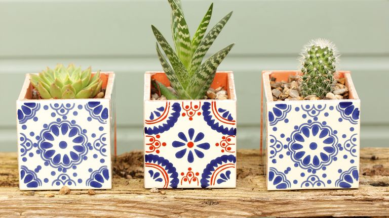 how to make a tile plant pot